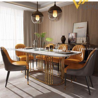 Bàn ăn cao cấp inox mạ vàng đẹp BAKL-1106