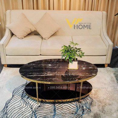 Bàn trà sofa elip mặt đá inox mạ vàng đẹp BTKL-1604