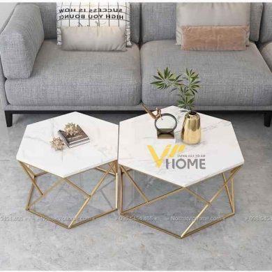 Bàn trà sofa mặt đá sắt sơn tĩnh điện đẹp BTKL-1610