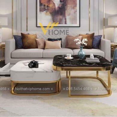 Bàn trà sofa mặt đá sắt sơn tĩnh điện đẹp BTKL-1611 5