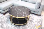 Bàn trà sofa tròn mặt đá inox mạ vàng đẹp BTKL-1601 2