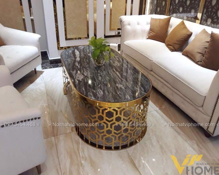 Bàn trà sofa tròn mặt đá inox mạ vàng đẹp BTKL-1603 2
