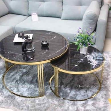 Bàn trà sofa tròn mặt đá inox mạ vàng đẹp BTKL-1605