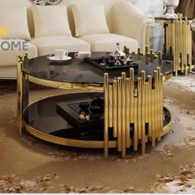 Bàn trà sofa tròn mặt đá inox mạ vàng đẹp BTKL-1606 1