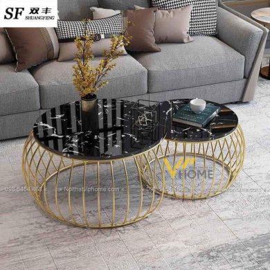 Bàn trà sofa tròn mặt đá inox mạ vàng đẹp BTKL-1608 3