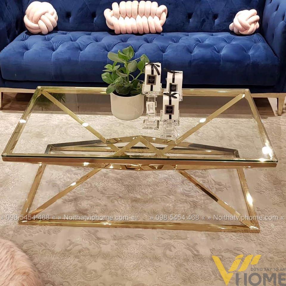 Bàn trà sofa tròn mặt kính inox mạ vàng đẹp BTKL-1602
