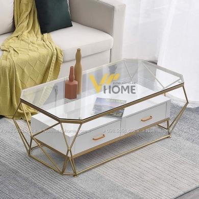 Bàn trà sofa tròn mặt kính inox mạ vàng đẹp BTKL-1607 1