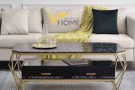 Bàn trà sofa tròn mặt kính inox mạ vàng đẹp BTKL-1607 2