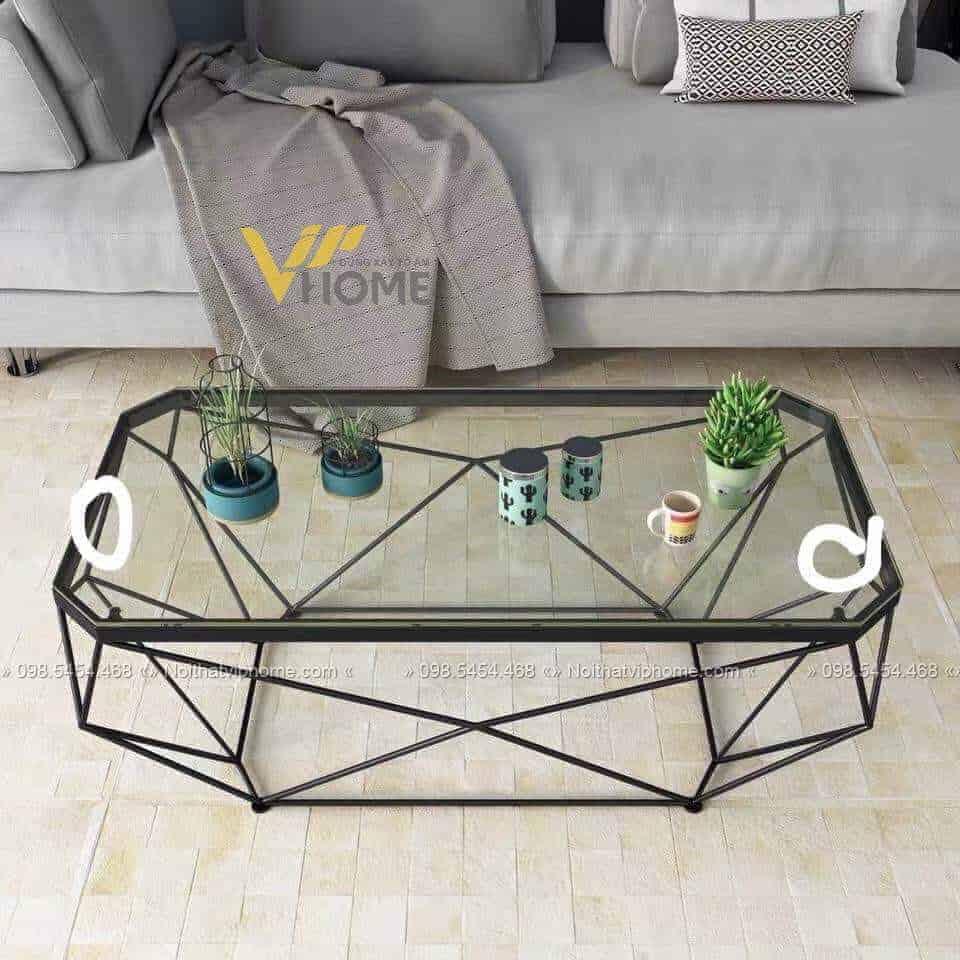Bàn trà sofa tròn mặt kính inox mạ vàng đẹp BTKL-1607 3