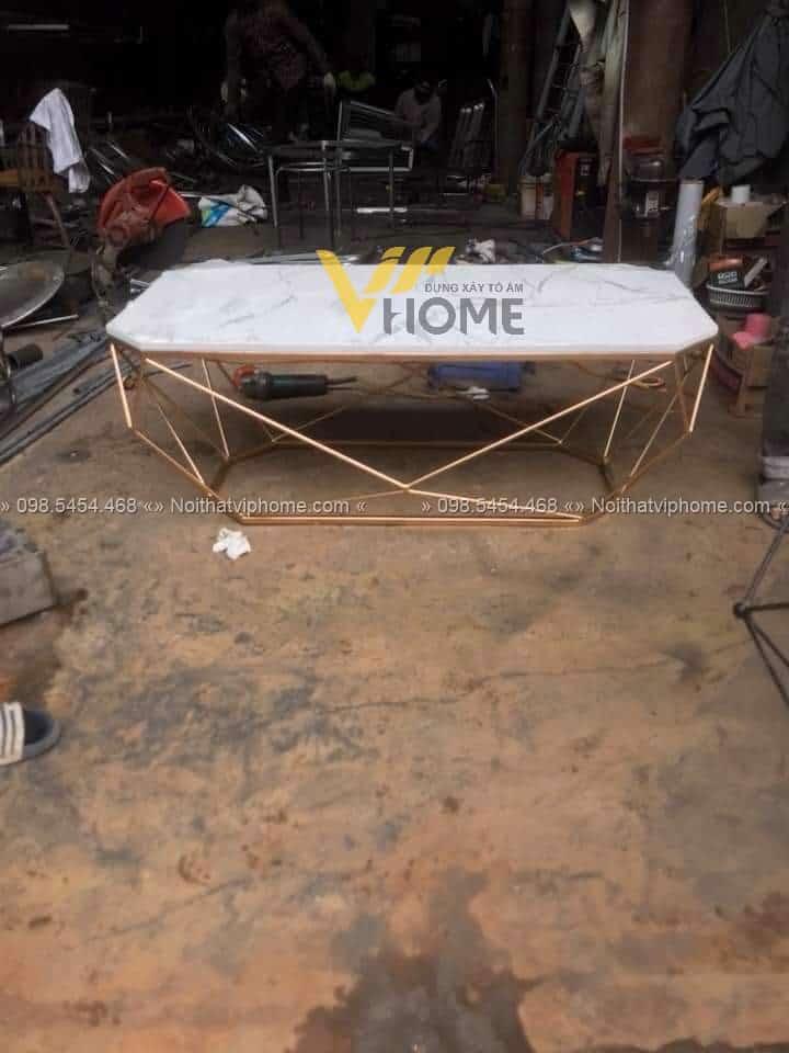 Bàn trà sofa tròn mặt kính inox mạ vàng đẹp BTKL-1607 4