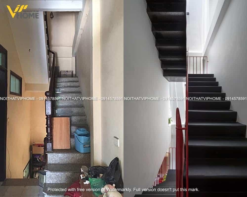 Cầu thang được thay đổi với tone đen tạo nên cảm giác rộng rãi và sạch sẽ hơn rất nhiều